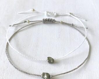 Pyrite Jewelry for Women, Pyrite Stone Bracelet, Simple Raw Pyrite Bracelet, Pyrite Bracelet, Unique Wife Jewelry Gift