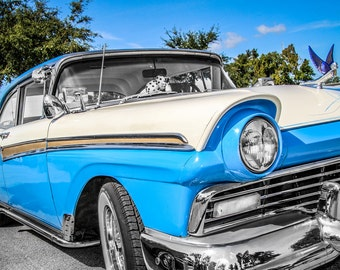 1957 Ford Fairlane Car Photography, Automotive, Auto Dealer, Classic, Muscle, Sports Car, Mechanic, Boys Room, Garage, Dealership Art