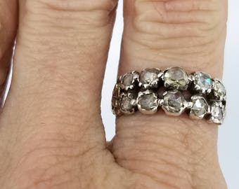 Early Victorian Rose Cut Diamond Double Row Ring 14k Gold