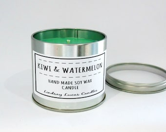 Kiwi Candle, Fruity Scented Candle, Scented Candle, Tin Candle, Kiwi & Watermelon Candle, Kiwi Watermelon Scent, Large Candle, Strong Candle