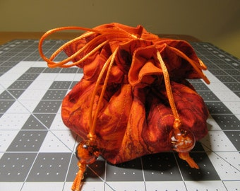 Jewelry Drawstring Travel Pouch/Tote/Bag/Organizer - Large Size - Handmade - Shades Of Orange Marble/Swirl