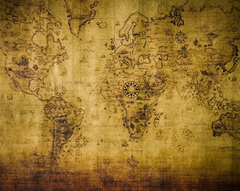 Old Map Backdrop - grunge map - Printed Fabric Photography Background G1123