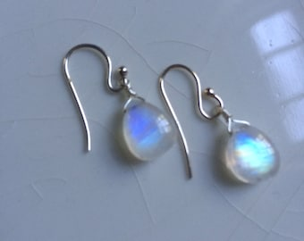 Free shipping - Smooth Rainbow Moonstone Pear/Briolette Drop Sterling Silver Dangle Earrings