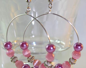 Pink beaded hoop earrings, pink beaded earrings, beaded hoop earrings, glass pearls, textured beads, gifts for her, fuchsia, silver, hoops