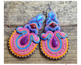 Extra large earrings, Statement earrings, Boho earrings, Colourful bohemian earrings, Handmade earrings, Vegan jewellery, Vegan gift, Eco