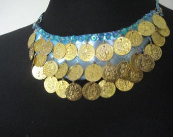 Necklace-05 blue covered with gold Metal sequins