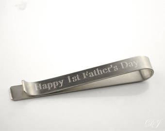 First Fathers day gift from baby, Actual handwriting Tie Bar, Hidden message tie bar, Custom Tie Clip, LONG Personalized Tie Bar Tie Tack