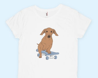Dachshund on a Skateboard T-Shirt (Women)