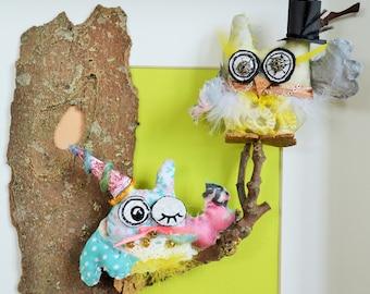 Couple Owls, home decor,wall or freestanding art, hand made, original, Love Owls