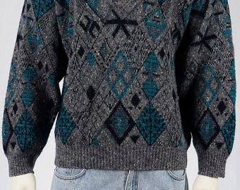 Vintage Sweater-Men's vintage-Men's fashion-vintage men-80s fashion-80s vintage-GR L-Wool mix-graphic pattern-80s men