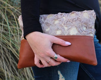 Chocolate brown leather clutch bag, leather clutch, Clutch purse, Evening bag, Foldover clutch, Fower, Women