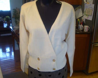1980's,  Appleseed's, 100% wool, double breasted, Cream Color Cardigan