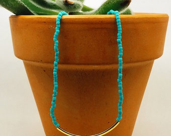 Turquoise Beaded Necklace / Seed Bead Necklace/ Gold Plated Tube Necklace