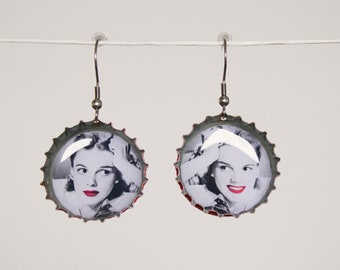 Earrings handmade JUDY GARLAND - resin - recycled art - cinema - stile vintage