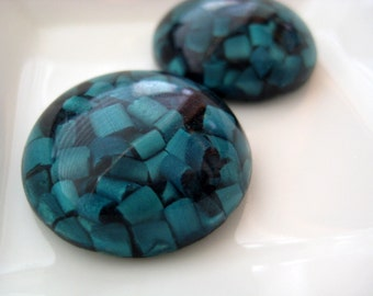 Vintage lucite aqua blue green confetti cabochons . 25mm (2)