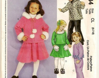 "A Hooded, Front Zip Jacket, Long Sleeve Top, and Pull-On Pants & Skirt Pattern: Uncut - Girls Sizes 6-7-8, Breast 25"" - 27"" ~ McCall's 3384"
