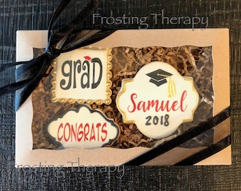 Decorated Custom GRADUATION theme cookies. Party, celebrate, gift, boxed, sets, high school, kindergarten, college and more