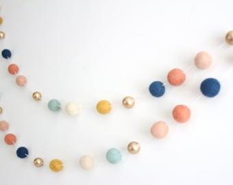 Arizona Gold Felt Ball Garland- Boy or Girl Nursery Decor- Gold Accent- Coral Mint Navy Nursery Decor- Navy Coral & Gold Bunting