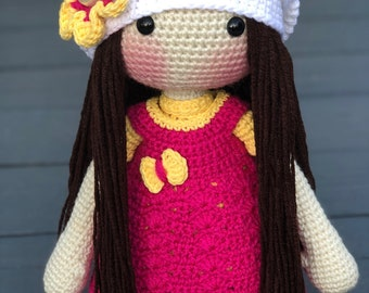 Amigurumi Doll, Crochet Doll, Pink and Yellow Outfit, Handmade Doll