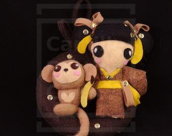 Asian Astrology Sign: Monkey/OOAK/handmade Doll