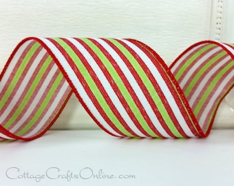 "Christmas Wired Ribbon 2 1/2"", Red, Lime Green and White Stripes  - TEN YARD ROLL - ""Christmas Ticking 40"" Striped Wire Edged Ribbon"