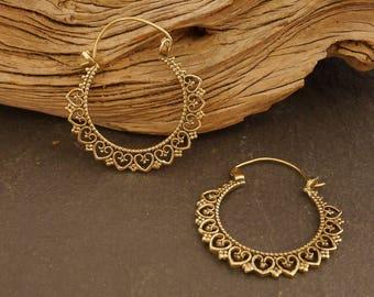 Brass earrings, hoop earrings