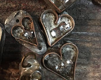 Mixed Metal Resin Rhinestone Heart Charms