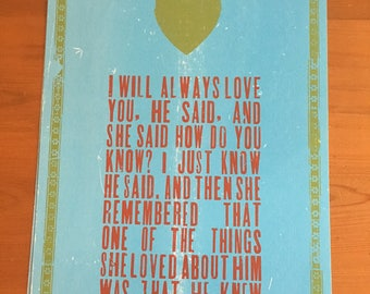 I will always love you -  letterpress print