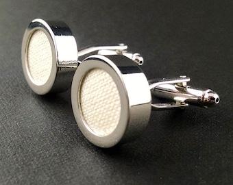 Off white cream cufflinks – linen mens cuff links - 12th or 4th anniversary gift – ivory wedding cufflinks – linen anniversary gift for him