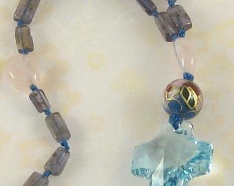 Blue Dawn Sky - iolite, rose quartz, cloissonne Anglican rosary