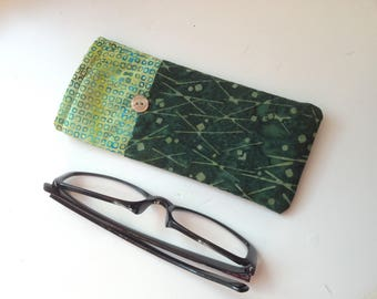 Reading Glasses Case -green batik cottons, small, soft eyeglasses sleeve, readers cozy,  squares, lines, boxes, travel accessory for purse
