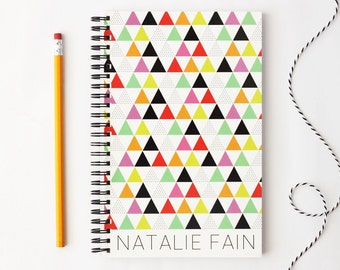 Tribal Print Personalized Notebook Custom Journal Note Book Colorful School Supplies Triangle Pattern Graduation Gift Ideas Modern Design
