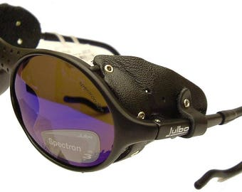Julbo Sherpa Sunglasses, Matt Black, Detachable Leather Shields, Polycarbonate (Spectron) AR Coated All Purpose Category 3 Lenses, Rx Ready