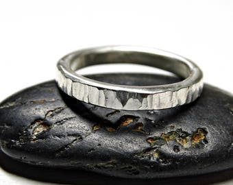 silver wood grain ring, grass ring silver wedding band, hammered ring silver engagement ring, promise ring forged, tree bark ring silver