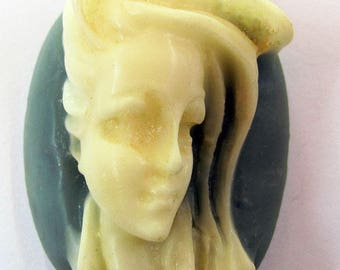 1 Windblown Hair Lady Oval Wedgwood Blue Resin Cameo Cabochon 40X30 mm