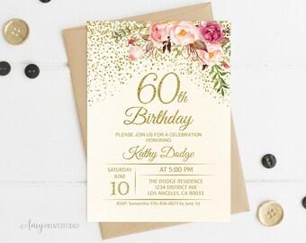 60th birthday invitations etsy 60th birthday invitation floral ivory birthday invitation cream birthday invite personalized digital file w56 filmwisefo