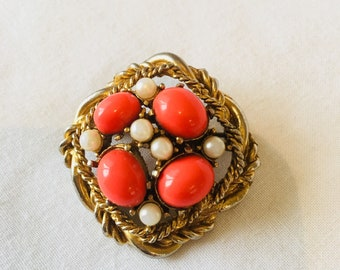 Vintage faux pearl and bead brooch