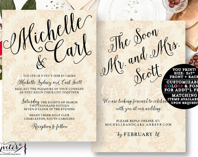 Gold Wedding Invitation, Ivory and Lace Wedding Invites, Vintage printable template, rustic lace.