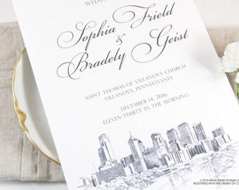 Philadelphia Skyline Wedding Programs (set of 25 cards)