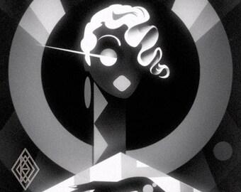 Untitled Finger Wave Flapper Girl Art Deco print.