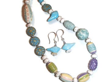 Eclectic Lampwork Glass Bluebird Necklace and Earrings Set Lampwork Beads S45