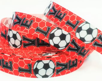 """7/8"""" inch LOVE SOCCER Red with Soccer Net Sports Printed Grosgrain Ribbon for Hair Bow - Original Design"""
