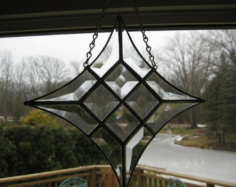 Hand made clear glass bevel cluster