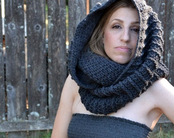 Ash grey cowl, crochet cowl, infinity scarf, hooded cowl, crochet snood, crochet scarf, womens scarf, gifts for her, hooded scarf, scarves