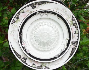 Pretty in pink and black, Plate Flower, Yard Art, Close Out Sale