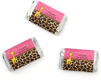Girl Giraffe Mini Candy Bar Wrappers - Personalized Baby Shower & Birthday Party Hershey® Miniature Candy Bar Sticker Labels - 20 Ct