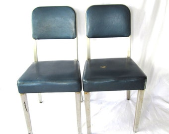 Vintage Set Of General Fireproof Industrial Chairs, Metal Chair, Office  Chair, Machine Age, Mad Men