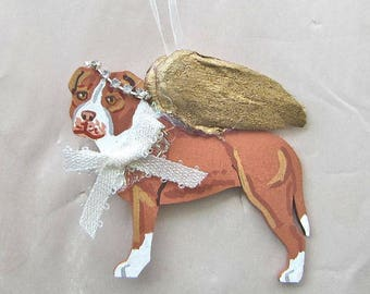 Hand-Painted PITBULL RED Gold Feathered Wing Angel Wood Christmas Ornament.....Artist Original