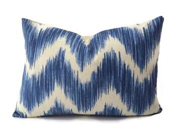 Blue Chevron Lumbar Throw Pillow Cover, Ikat pillow cover, Toss Pillow, Throw Pillow Cover, Accent Pillow, Lumbar Pillow Cover, 14x19.5