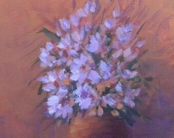 Purple Flowers, Still Life, Foust, Painting on Canvas, Original Art,